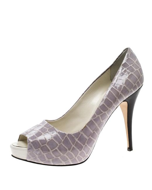 3ff98f96b082c Giuseppe Zanotti - Gray Grey Croc Embossed Patent Leather Peep Toe Platform  Pumps Size 40 ...