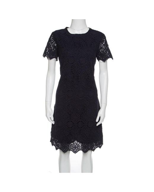 Tory Burch Navy Blue Floral Embroidered Lace Short Sleeves Dress M