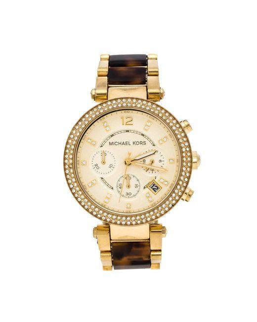 Michael Kors Metallic Yellow Gold Plated Stainless Steel Tortoise Parker Mk5688 Women's Wristwatch 39 Mm