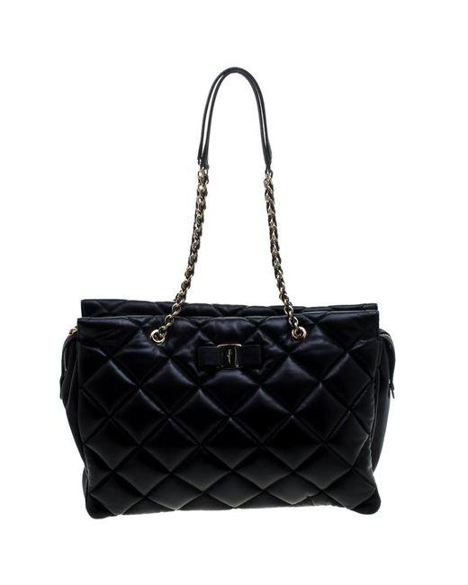 Ferragamo - Black Quilted Leather Ginette Chain Shoulder Bag - Lyst ... f7b00ea222a1c