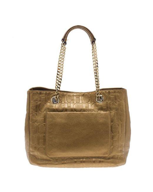 Carolina Herrera Gold Monogram Leather Audrey Tote Bag In Metallic Lyst