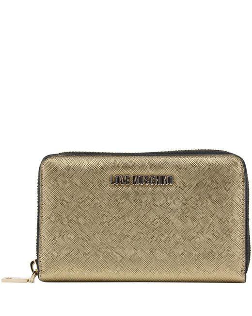 Moschino - Metallic Love Leather Zip Around Wallet - Lyst