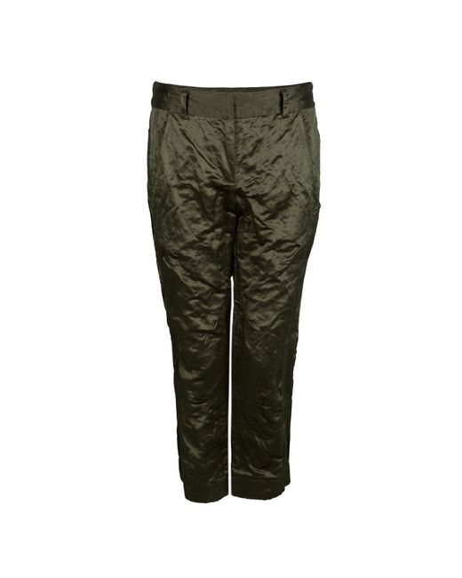Vera Wang Olive Green Slipper Satin Tapered Trousers