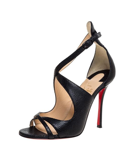 Christian Louboutin Black Lizard Embossed Leather Malefissima Ankle Strap Sandals
