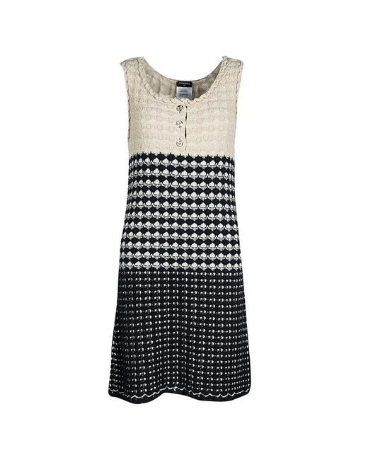 bdfd6c000c5 ... Chanel - Navy Blue And Beige Knit Dress And Cardigan Set M - Lyst ...