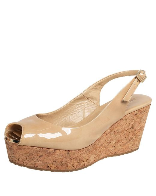 Jimmy Choo Natural Beige Patent Leather Cork Wedge Sandals