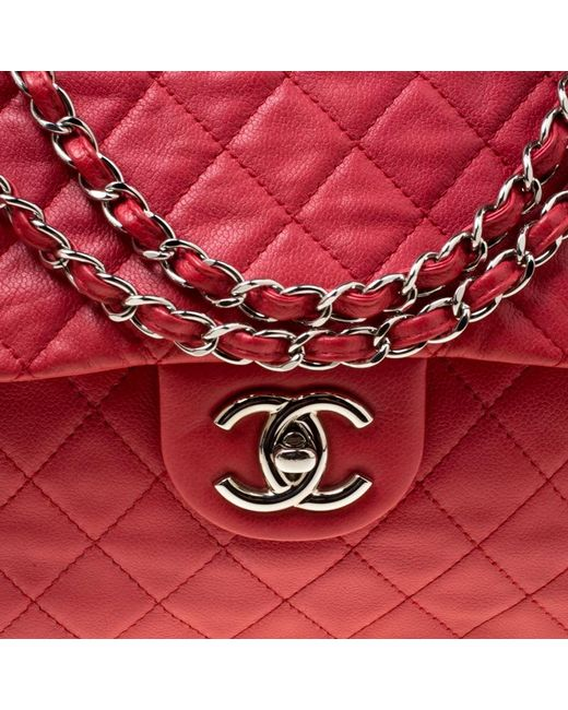 d6d944e6c108 ... Chanel - Red Quilted Caviar Leather Maxi Classic Single Flap Bag - Lyst  ...