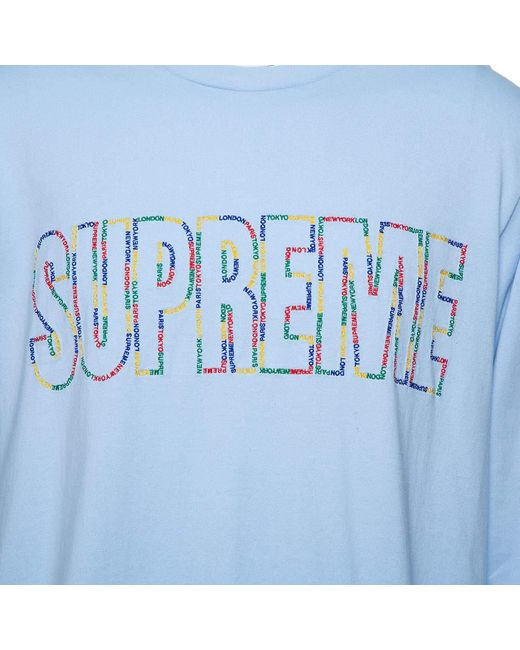 Supreme Light Blue Cotton City Embroidered Long Sleeve T-shirt Xl for men