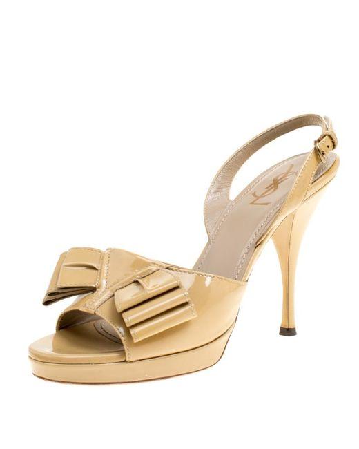 Saint Laurent Natural Beige Patent Leather Y Bow Platform Singlback Sandals
