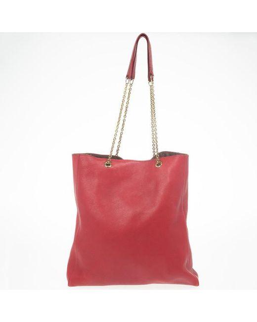 0f2a460e9d ... Céline - Red Leather Envelope Pocket Tote - Lyst ...