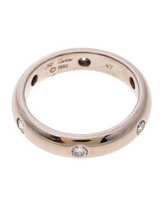 Cartier Wedding Band.Women S Metallic Stella Diamond 18k White Gold Wedding Band Ring Size 47