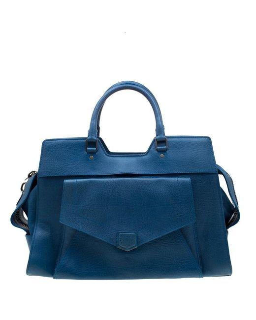 Proenza Schouler Blue Leather Large Ps13 Satchel