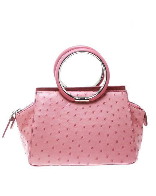 Dior - Pink Ostrich Ring Handle Satchel - Lyst