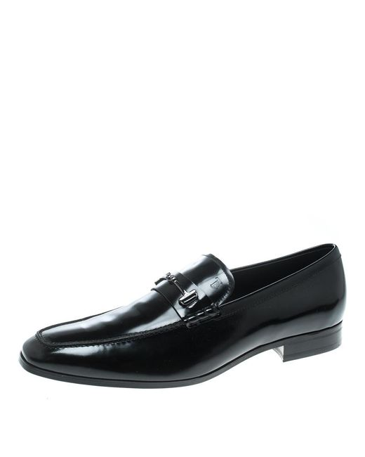 Tod's - Black Leather Doppia T Loafers for Men - Lyst