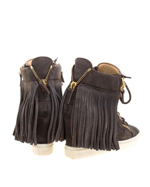 0ccf8595fc9cd ... Giuseppe Zanotti - Gray Grey Suede Lorenz Fringe Wedge Sneakers Size 37  - Lyst ...