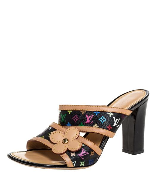 Louis Vuitton Black Multicolor Monogram Canvas And Leather Trim Slide Mule Sandals