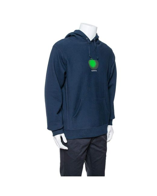 Supreme Midnight Blue Apple Logo Print Cotton Hoodie M for men