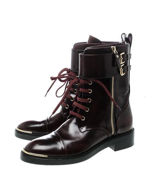e7556af53c9 Women's Black Burgundy Leather Like A Man Ranger Boots Size 37