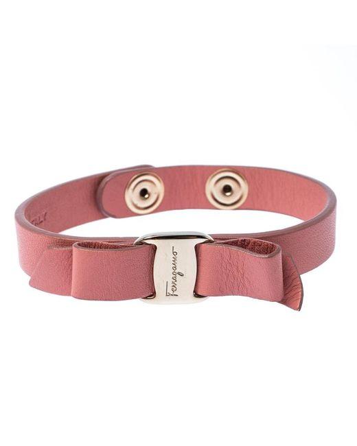 Ferragamo Vara Bow Pink Leather Gold Tone Bracelet