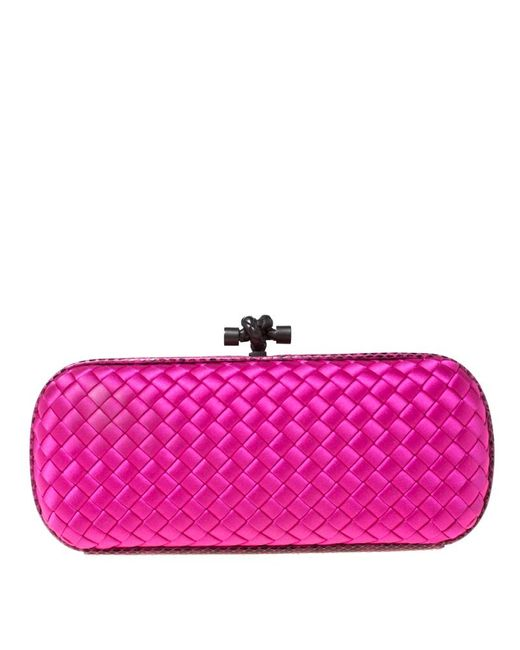 low price sale luxury aesthetic 100% satisfaction Bottega Veneta Bright Pink Intrecciato Satin And Python Trim ...