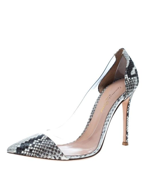 Gianvito Rossi - Gray Two Tone Python Leather And Pvc Plexi Pumps - Lyst