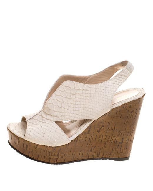 44dba971358 ... Fendi - Off White Embossed Python Leather Cork Wedge Sandals Size 39 -  Lyst ...