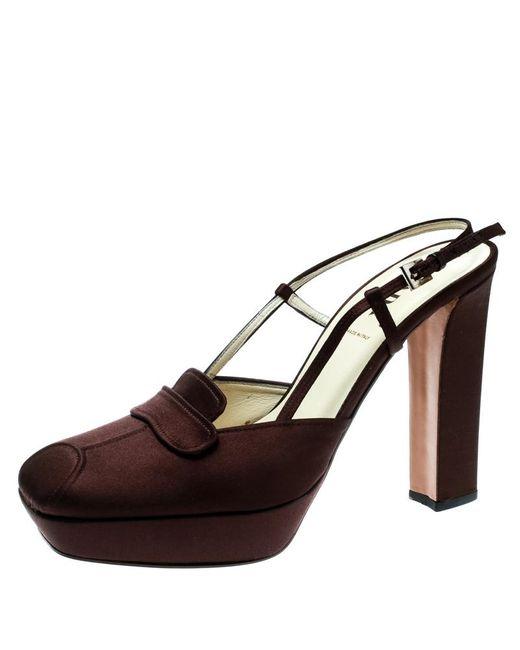Prada Brown Satin Platform Block Heel Loafer Sandals