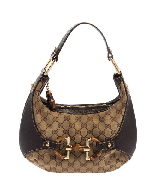Gucci Natural Beige/brown GG Canvas And Leather Horsebit Amalfi Hobo