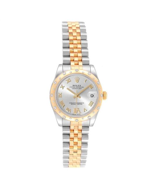 Rolex Metallic Silver 18k Yellow Gold Diamond And Stainless Steel Datejust 178343 Women's Wristwatch 31mm