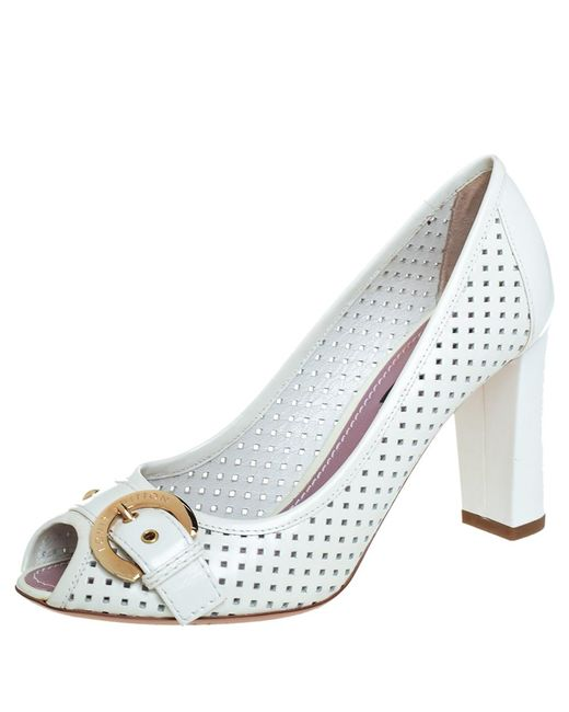 Louis Vuitton White Perforated Leather Buckle Peep Toe Block Heel Pumps