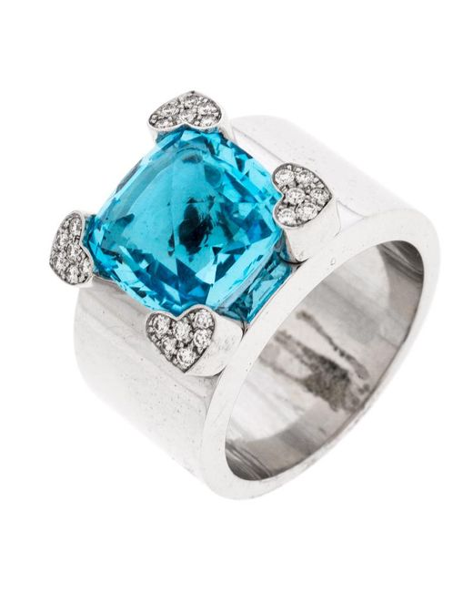 Chopard Blue Topaz & Diamond 18k White Gold Ring