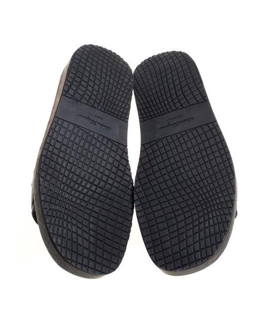 2b2de17a540d ... Ferragamo - Black Ostrich Leather Lutfi Platform Slides Size 41 for Men  - Lyst ...