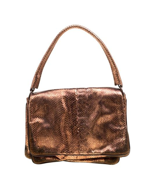 Bottega Veneta Brown Copper Python Shoulder Bag