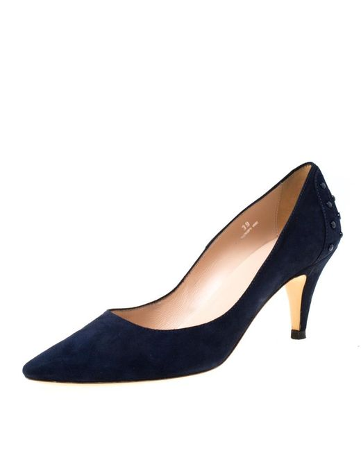 Tod's Blue Suede Pointed Toe Pumps Size 39