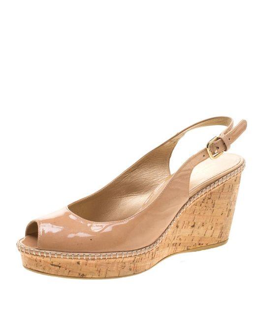 Stuart Weitzman Natural Beige Patent Leather Jean Peep Toe Cork Wedge Slingback Sandals Size 41