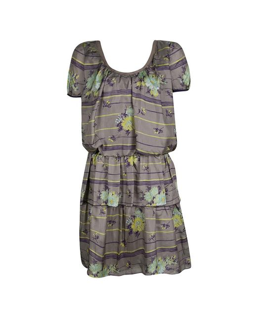 Philosophy di Alberta Ferretti Gray Grey Floral Printed Silk Tiered Dress