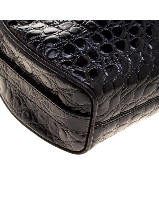 ... Ferragamo - Black Croc Embossed Leather Crossbody Bag - Lyst ... 9b3ebbc90aa9e