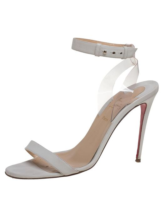Christian Louboutin Off White Leather And Pvc Jonatina Sandals