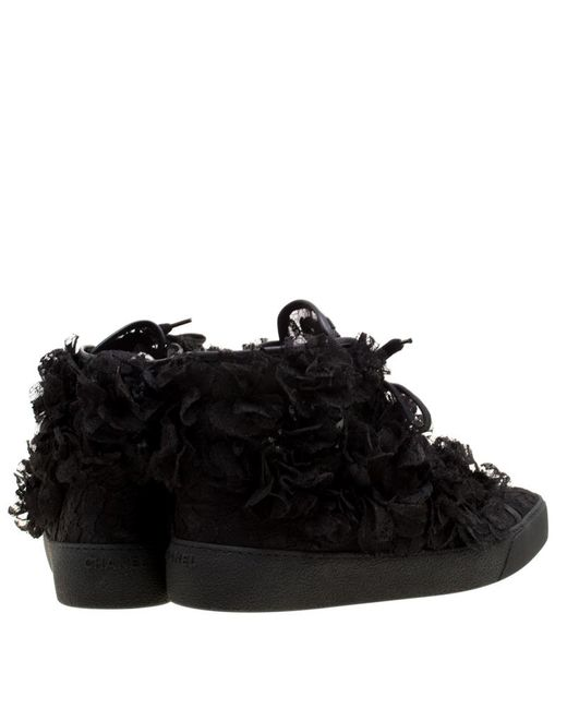 Chanel Black Cc Camellia Lace High Top Sneakers