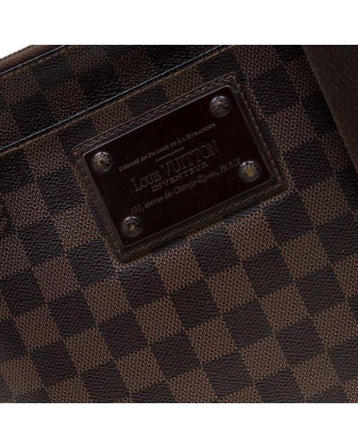 56fa3777100485 ... Louis Vuitton - Brown Damier Ebene Brooklyn Pochette Plate Bag for Men  - Lyst ...