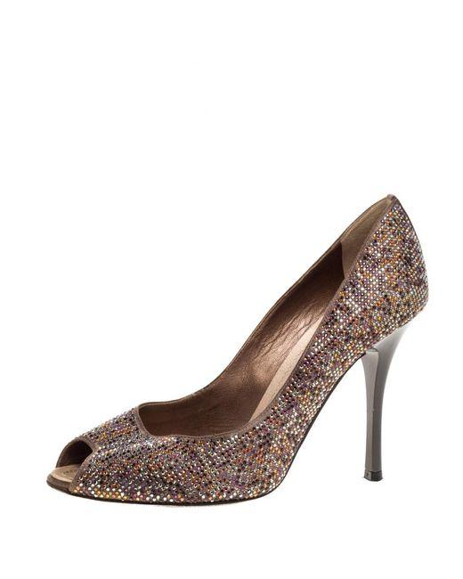 Rene Caovilla Brown Satin Multicolor Crystal Embellished Peep Toe Pumps