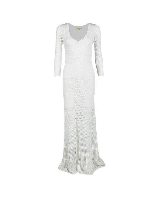 Catherine Malandrino Off White Crochet Knit Fitted Maxi Dress P /
