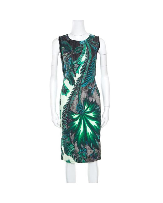 Roberto Cavalli Green Multicolor Printed Contrast Paneled Sleeveless Dress S