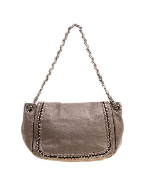 eebe00a46f84 ... Chanel - Metallic Bronze Leather Luxe Ligne Accordion Flap Bag - Lyst  ...