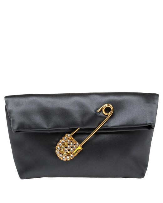 Burberry Gray Grey Satin Crystal Embellished Pin Clutch