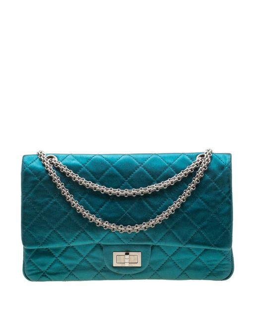 Chanel Metallic Turquoise Quilted Leather Jumbo 2.55 Reissue Classic 227 Flap Bag