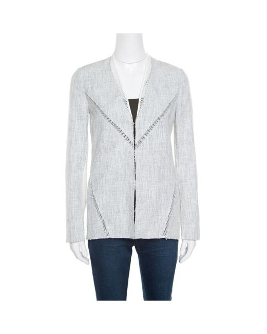 Elie Tahari Off White And Blue Textured Mesh Insert Mixed Media Leeann Jacket Xs