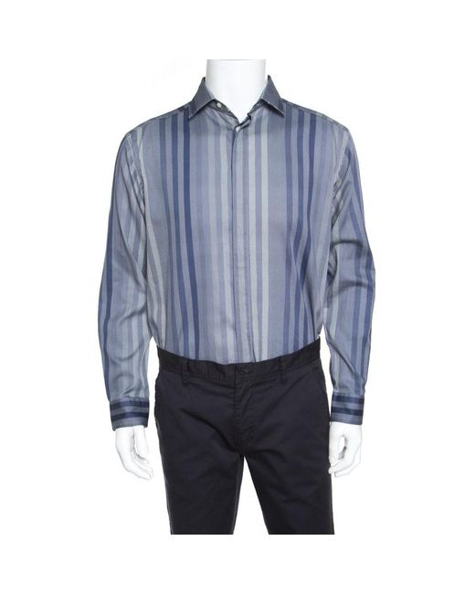 Etro Blue Patterned Stripe Printed Long Sleeve Button Front Shirt L for men