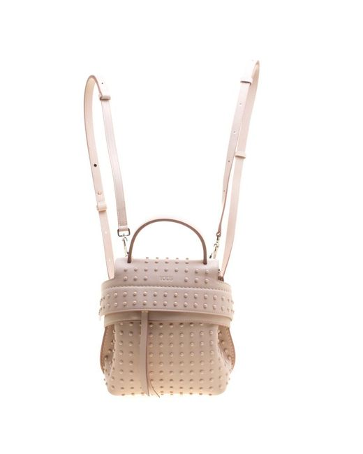 Tod's - Pink Blush Leather Mini Wave Top Handle Backpack - Lyst