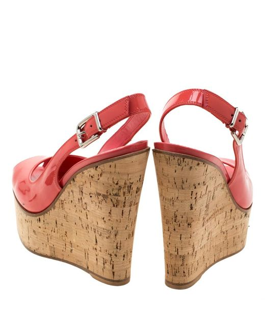 75349856e9e Women's Pink Patent Leather Slingback Wedge Sandals Size 35